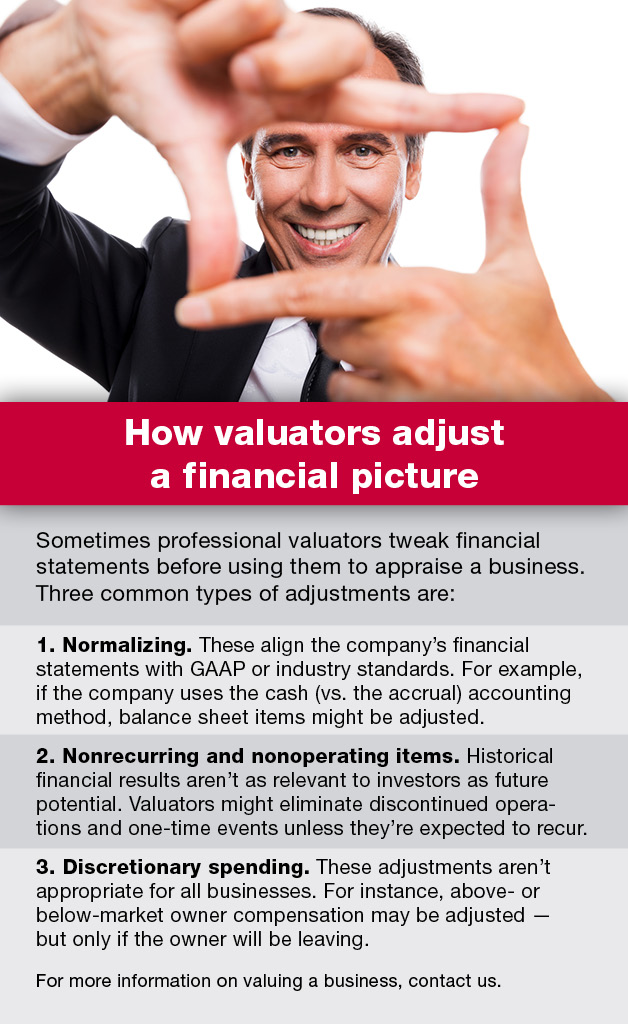 how valuators adjust a financial picture